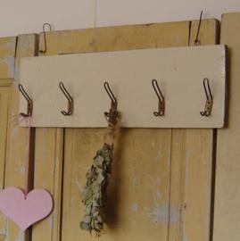 Kapstok hout origineel met metalen haken industrie