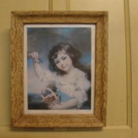 Afbeelding Meisje Petite fille aux cerises oude lijst