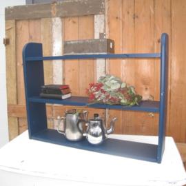 Wandschap 85 cm blauw brocante boekenschap
