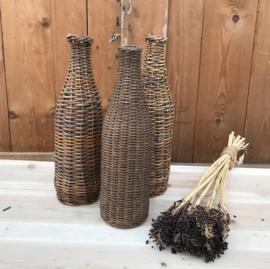 Fles mandfles origineel gevlochten 30 cm hoog