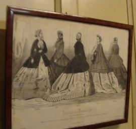 Lijst met antieke modeprent
