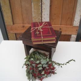 Twee oude boeken stapeltje bordeaux rood