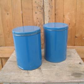Blik voorraadblik brocante blauw origineel 32 cm