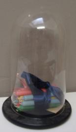 Stolp glas glazen stolp met onderplaat rond VERKOCHT