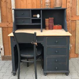 Bureau schrijfbureau hout grijs brocante 109 cm