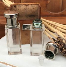 Reisset leer parfum fles glas met stop & dop