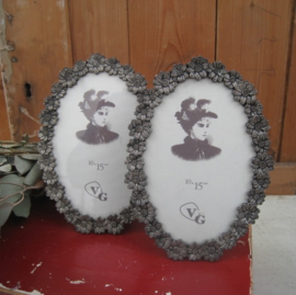 Fotolijst lijstje silver plated met glas bloemmotief