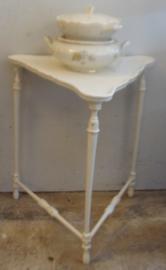 Bijzettafel haltafel wijntafel wit brocante 62 cm hoog