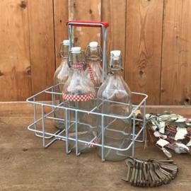 Flessenrek metaal 6 flessen kunststof handvat