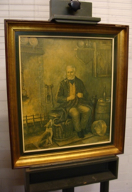 Afbeelding man met hond en pijp 60 x 69