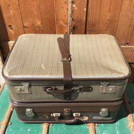 Koffer bruin beige vintage 3 stuks origineel