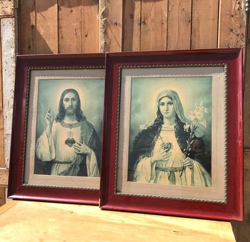 Maria en Jezus afbeeldingen in lijst hout origineel