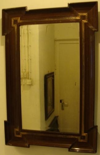 Spiegel origineel 55 x 82 facet lijst hout fraaie vorm