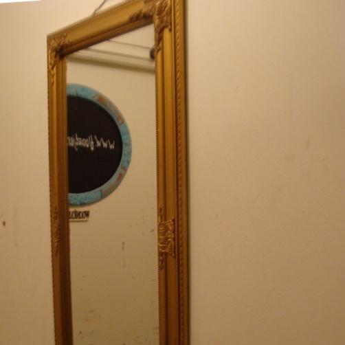 Spiegel/ passpiegel brocante origineel goudkleurige lijst (no 111)