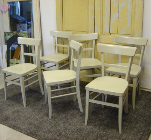 6 Cafe Stoelen.Cafe Stoelen 6 Stuks Hout Eetkamer Grijs Verkocht Sorry Reeds