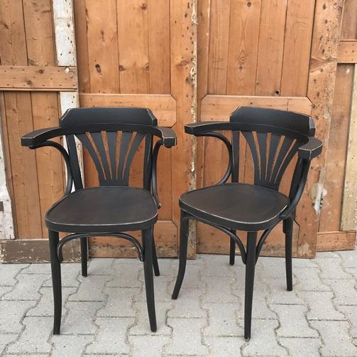 Café stoelen hout zwart armleuning VERKOCHT
