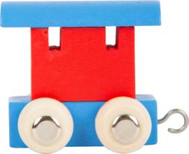 houten eindwagon blauw/rood