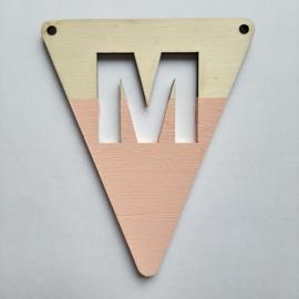roze houten vlag M
