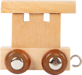houten eindwagon lettertrein naturel