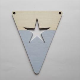 blauwe houten vlag figuren