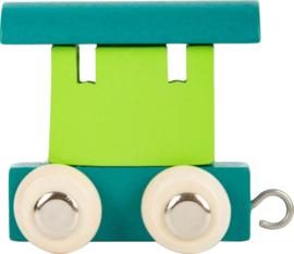 houten eindwagon petrol/groen