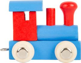 houten locomotief blauw/rood