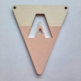 roze houten vlag A