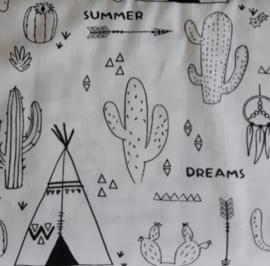 Vlag, tipi / cactus zwart/wit