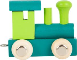 houten locomotief petrol/groen