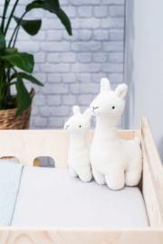 knuffel lama wit, klein of groot