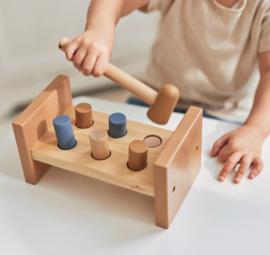 Houten speelgoed hamerbankje blauw