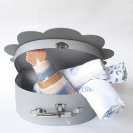 Kraamkado pakket schelp blauw