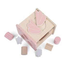 Houten vormenstoof schelp roze