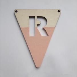 roze houten vlag R