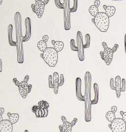 Stof jersey cactus zwart/off-white