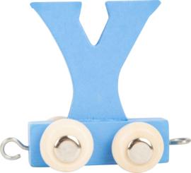 houten lettertrein Y blauw