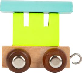 houten eindwagon groen/blauw/neutraal