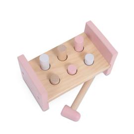 Houten speelgoed hamerbankje roze