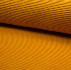 Ribvelours stof okergeel