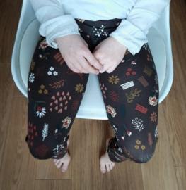 Legging bloem bruin