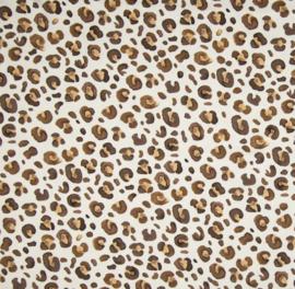 Stof jersey leopard bruin