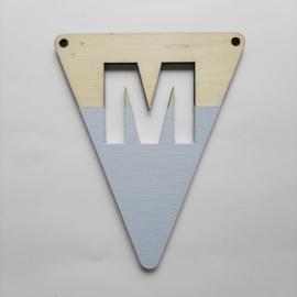 blauwe houten lettervlag