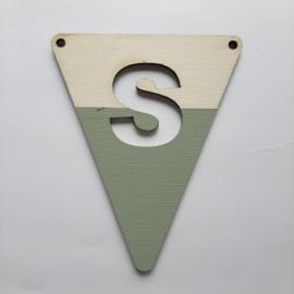 groene houten lettervlag