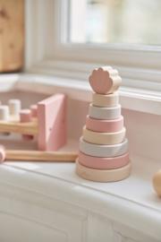 houten stapeltoren schelp roze