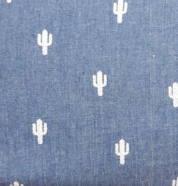 vlag spijkerblauw met cactus