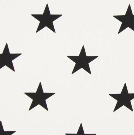 Stof katoen grote ster wit/zwart