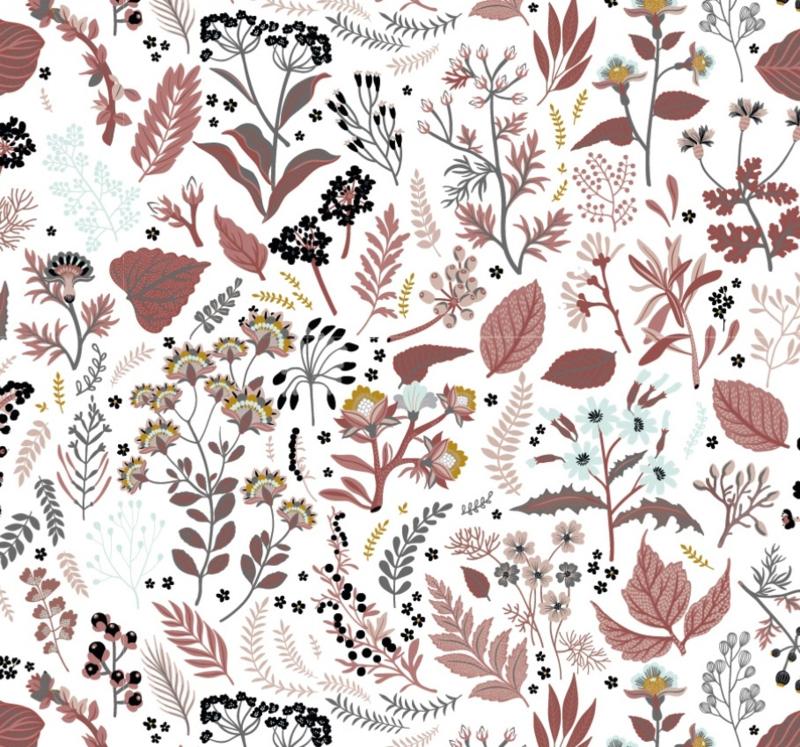 Stof organic katoen bloem&tak rood