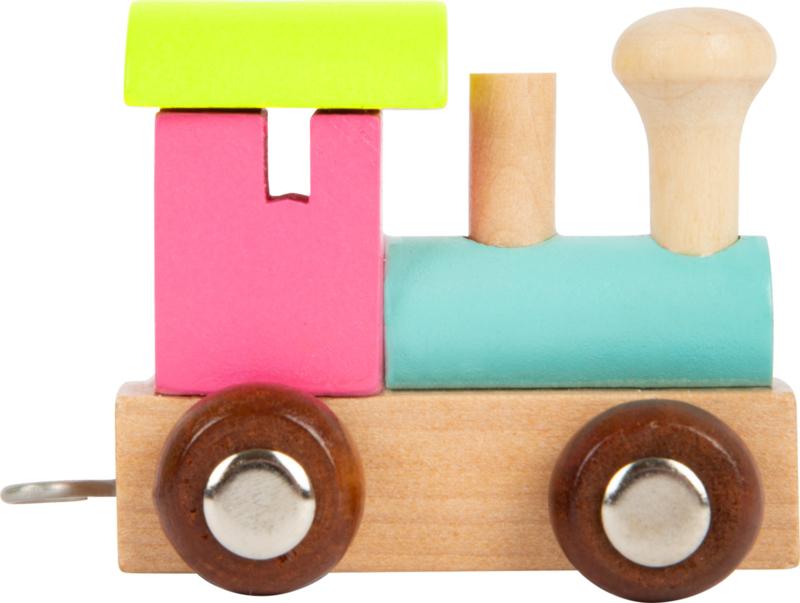 houten locomotief roze/groen/blauw/neutraal