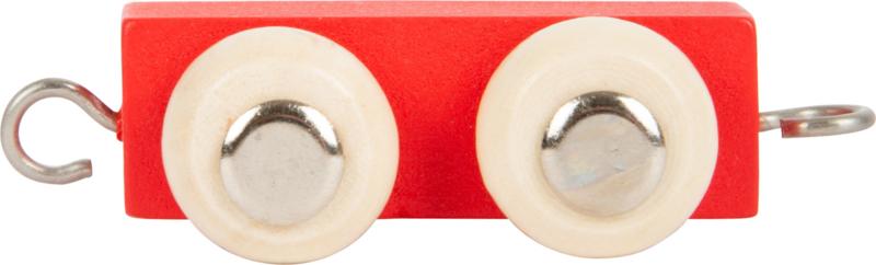 houten tussenwagon lettertrein rood