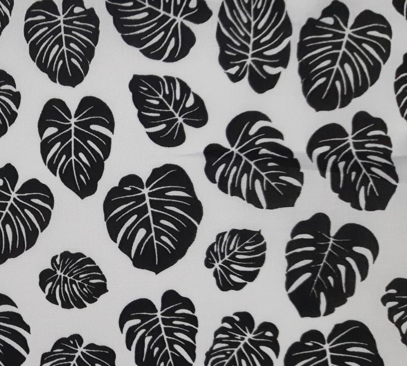 Stof katoen blad zwart/wit